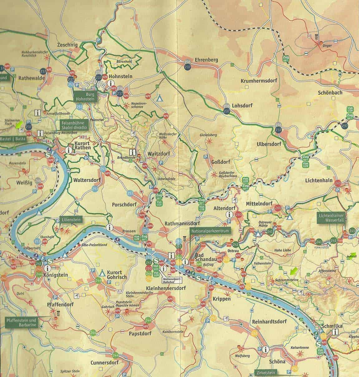 Mapa parque natural Suiza Sajona