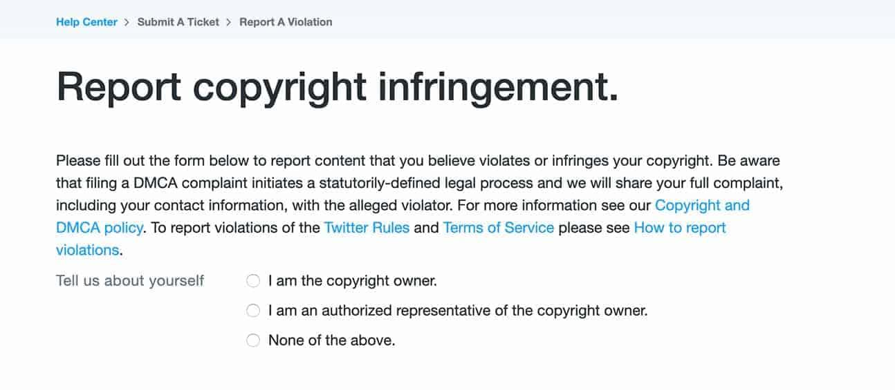 DMCA Twitter