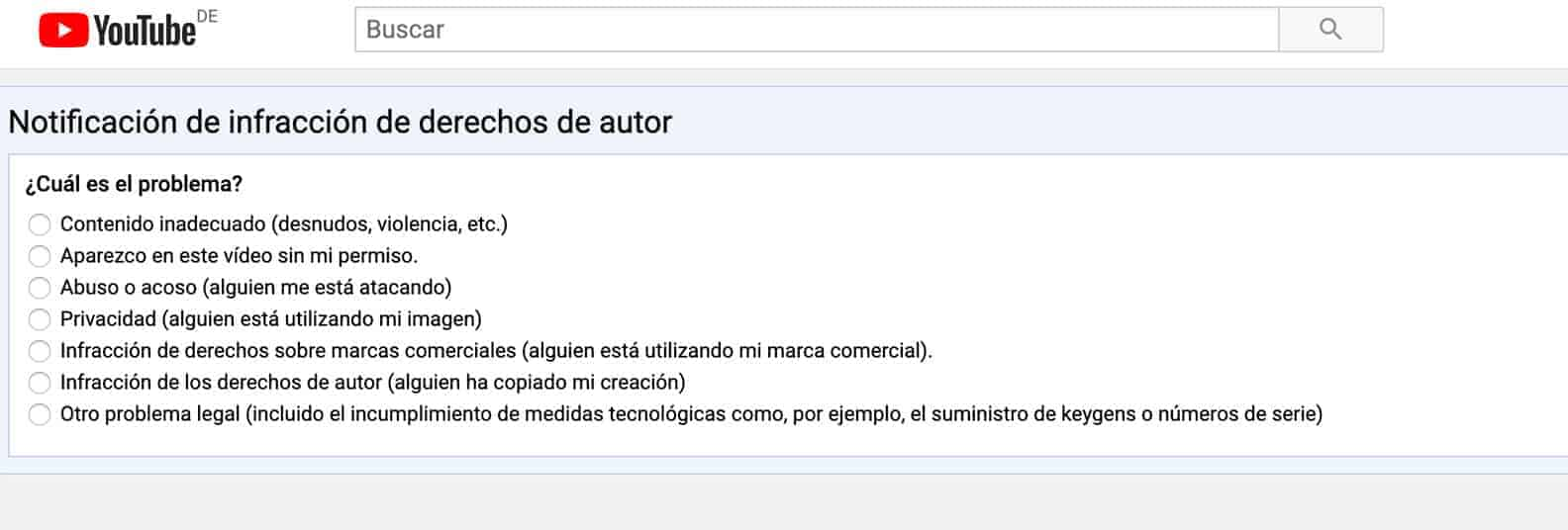 Youtube denuncia copyright